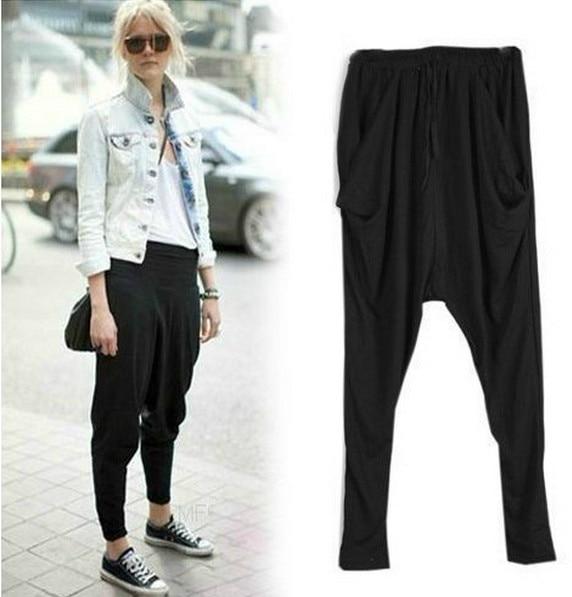 NIFULLAN Harem Pants Dance-Trousers Pleated-Sweatpants Loose Black Plus-Size High-Waist