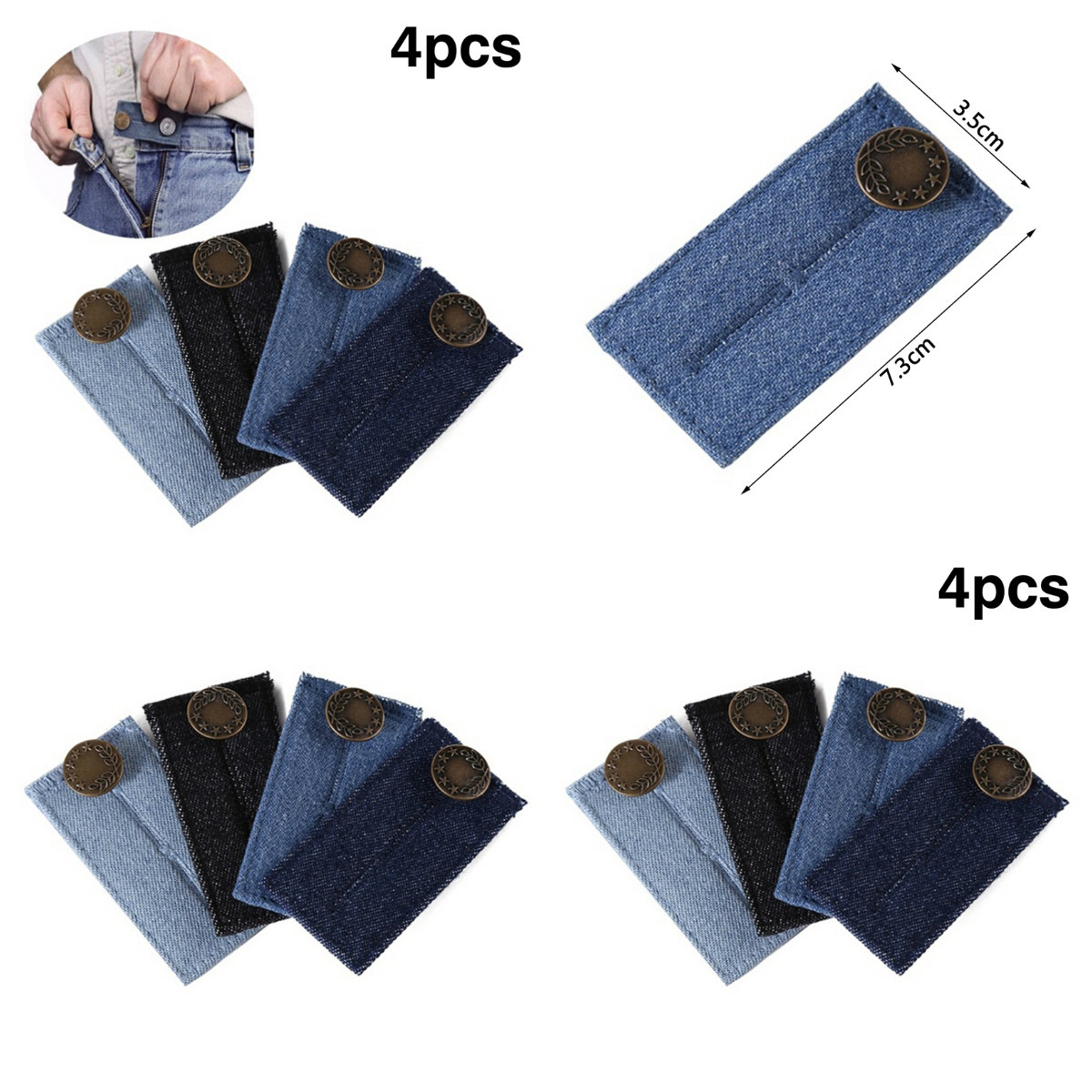 1/4Pcs  Adjustable Elastic Waist Extender With Metal Buttons Clothing Pants Accessories Maternity Pregnancy Waistband Belt