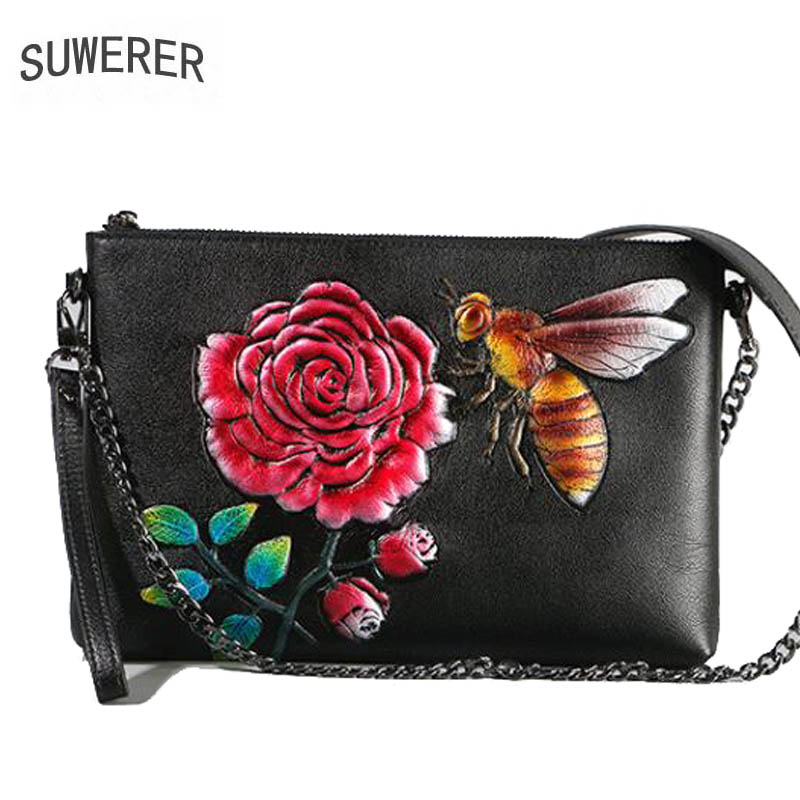 Leather ladies crossbody bag 2018 new real leather Chinese style embossed retro envelope bag Female party bag цена 2017