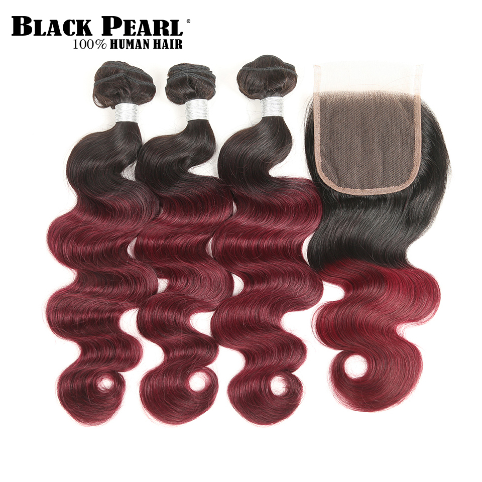 StyleIcon Pre-Colored Ombre Body Wave Human Hair Bundles Med Closure - Menneskehår (sort)