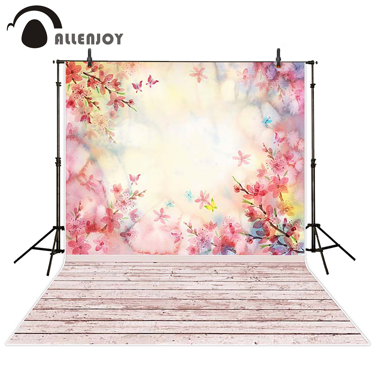 Allenjoy scenic Photo background Spring peach blossom pink gouache on wood board background vinyl photography backdrops vinyl allenjoy photography backdrops pink curtains stripes birthday background customize photo booth for a photo shoot vinyl backdrops