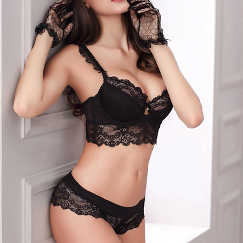 Ultra-thin Sexy Transparent Lace   Bra   Thin Underwear Comfortable Breathable Push Up   Bra     Set
