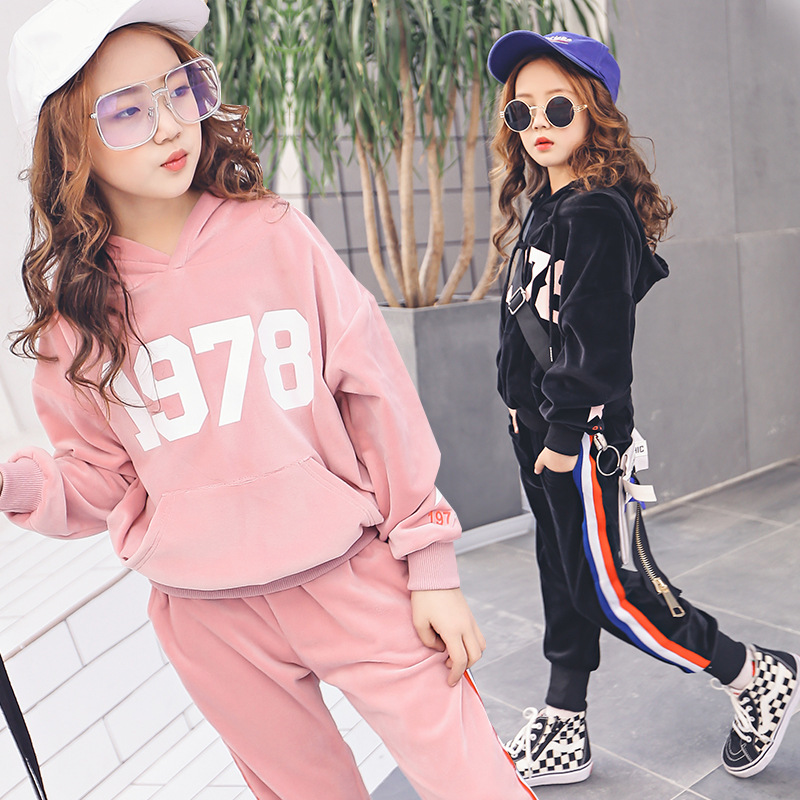 все цены на Fashion Sports Girls Tracksuits Two pieces 1978 print hoodies striped trousers 2018 Autumn Girls Outwear