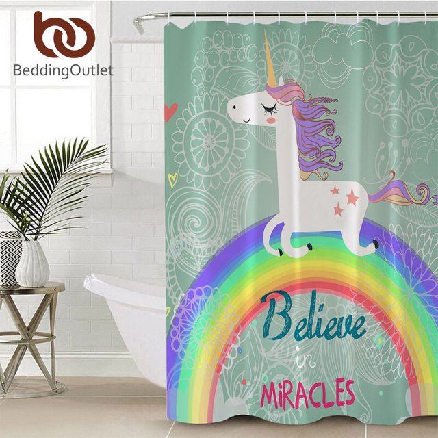 BeddingOutlet Cartoon Unicorn Shower Curtain For Kids Bathroom Rainbow Bath Polyester Waterproof 71x71 With Hooks