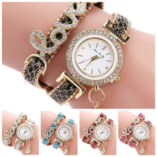 Fashion Women Multi-layer Bracelet Quartz Watch Alloy Crystal Love Letter Band Wristwatch Jewelry Gifts High Quality LL@17 vince camuto women s vc 5186chgb swarovski crystal accented gold tone multi function bracelet watch