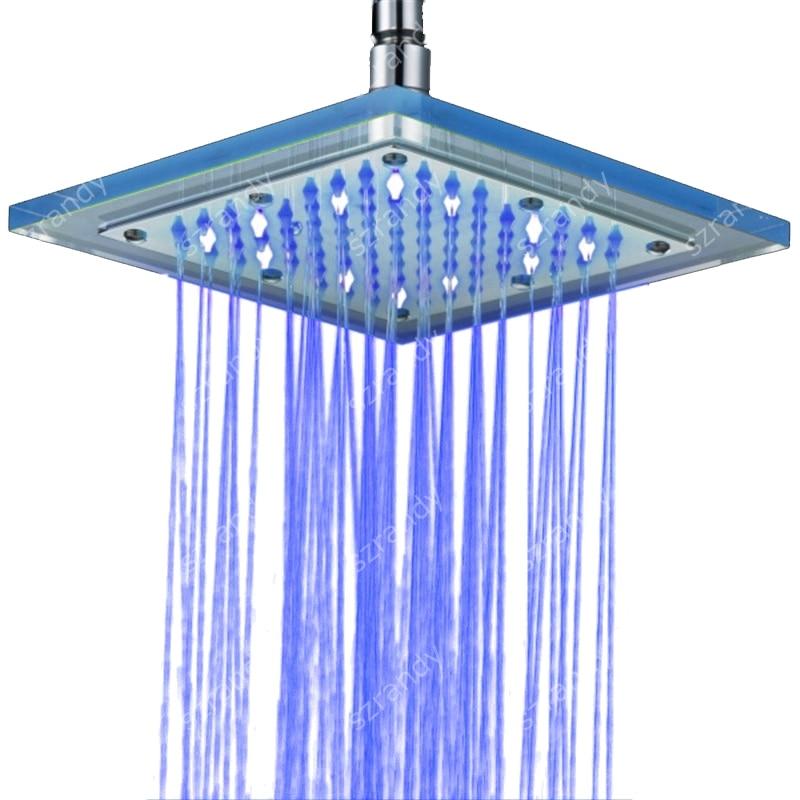 Chrom Dusche Kopf mit blauen LED Licht Auto Wasser angetrieben Bad Duschkopf