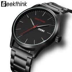 Армейские часы, черные, стальные, повседневные, японские, кварцевые, мужские, модные, деловые, Роскошные, брендовые, мужские, аналоговые нару...