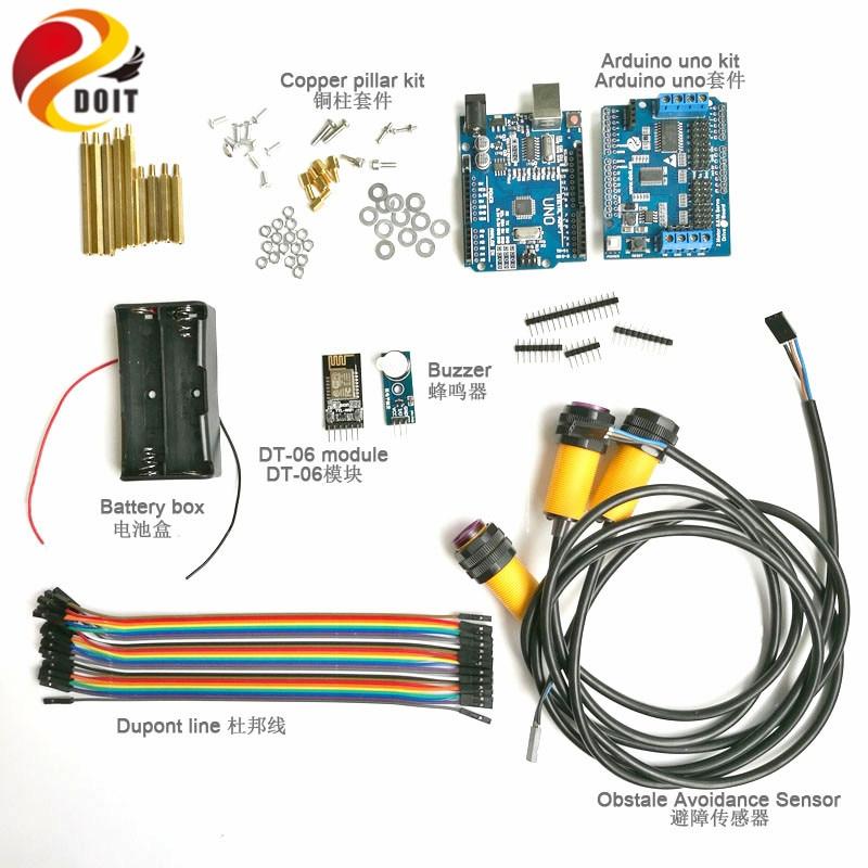 1 kit de développement WiFi avec carte Arduino UNO + évitement d'obstacle IR + carte d'entraînement moteur pour châssis Robot réservoir intelligent