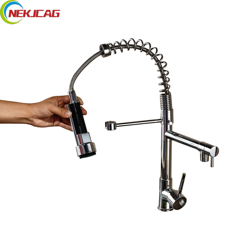 Chrome Finished Single Handle Double Spout Kitchen Faucet Deck Mounted Kitchen Vessel Sink Mixer Tap good quality wholesale and retail chrome finished pull out spring kitchen faucet swivel spout vessel sink mixer tap lk 9907