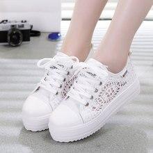 Women fashion Shoes cutouts lace canvas hollow breathable platform flat Shoes