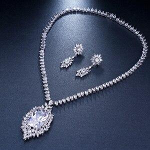 Image 4 - Emmaya cyrkonie jakość aaa cyrkonia Big Rectangul Royal Blue Bridal wieczór weselny kolczyk naszyjnik komplet biżuterii damskiej