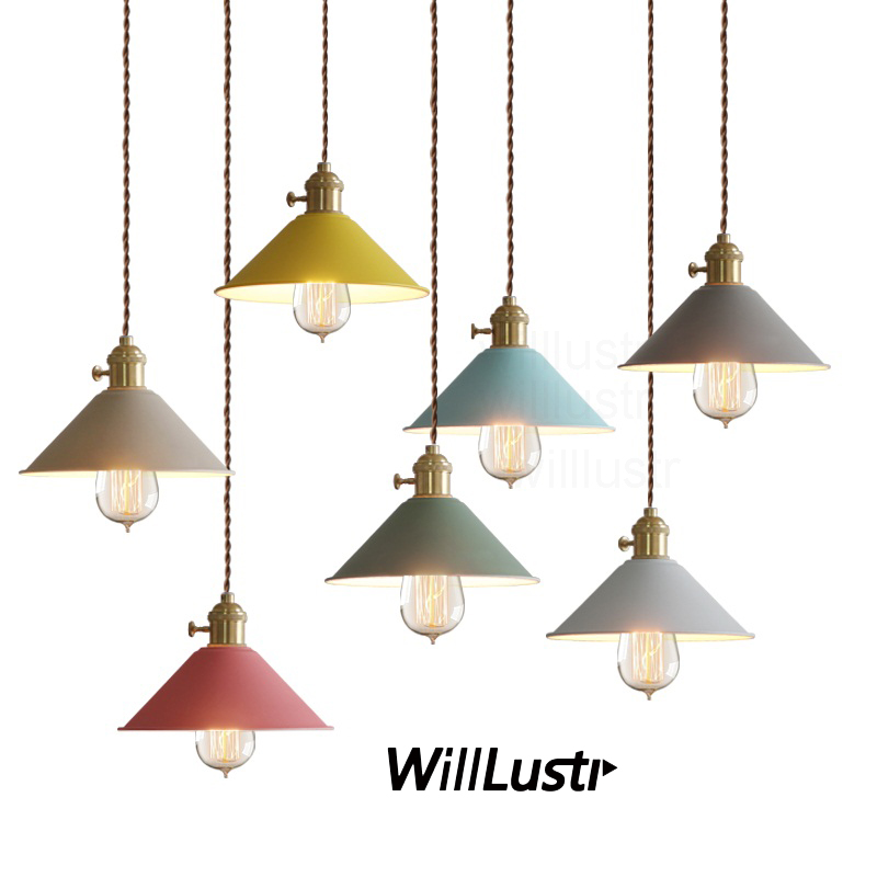 Willlustr Modern metal hanging lighting  macarons color umbrella iron pendant lamp Vintage bulb Dining Room Bar suspension Light modern iron 3heads yellow gray blue pendant light study macarons restaurant bar inline chandel lighting pendant lamps za925435