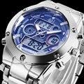 2016 ASJ nova marca famosa homem macho moda casual esporte relógio digital militar do exército de aço LEVOU buseinss de luxo de pulso de quartzo relógio