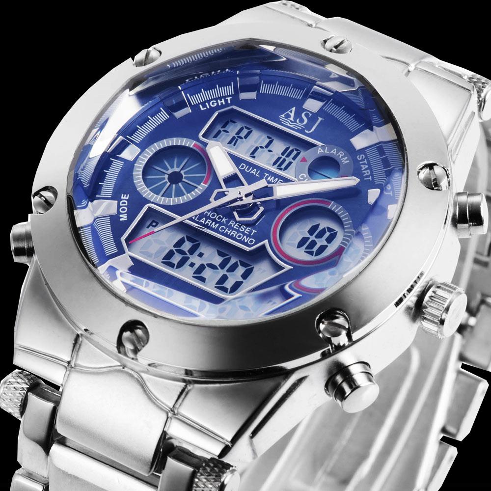 Prix pour Asj chaude nouvelle célèbre marque homme mâle mode casual sport militaire horloge acier armée LED de luxe buseinss poignet quartz montre minuterie