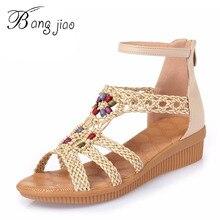 2018 Shoes Women Sandals Platform Wedges Bohemia Woven+Cow Leather Summer  Style Women Beach Shoes 19816b044774