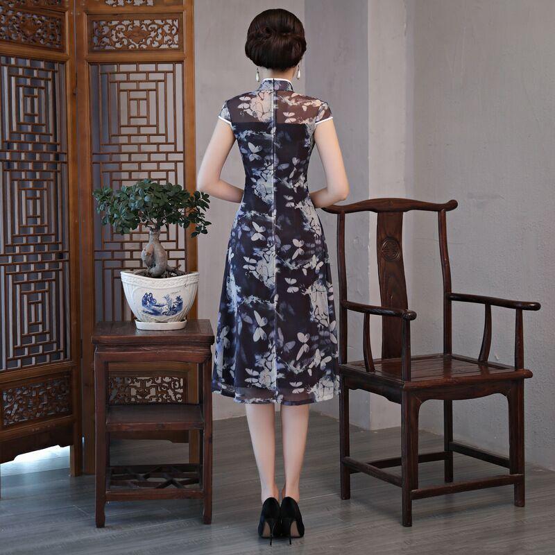 Fashion Chinese style Knee Leng Cheongsam New Arrival Womens Chiffon Dress Elegant Qipao Vestido Size S M L XL XXL XXXL 189685-in Dresses from Women's Clothing    2