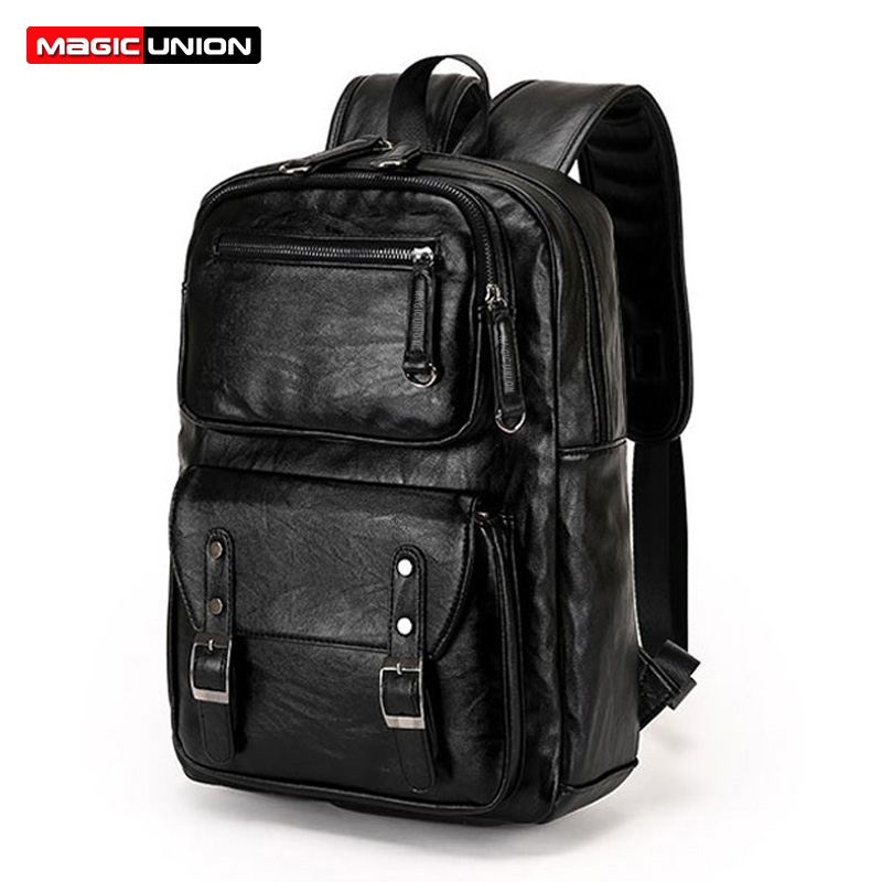 MAGIC UNION Men Patent Leather Backpack Men's Travel Bags & Men's Leather Backpack Western College Style Backpacks School Bags retrospect of western travel