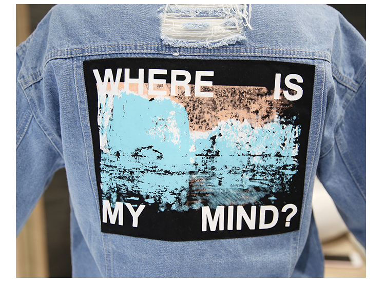 Women Frayed Denim Bomber Jacket Appliques Print Where Is My Mind Lady Vintage Elegant Outwear Autumn Fashion Coat 14