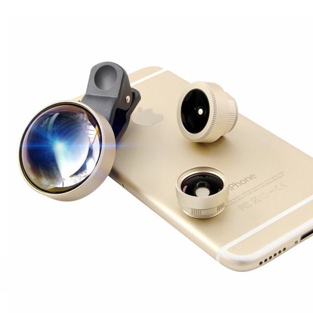 Teléfono móvil Se Convierte En SLR tiene 12.5X Macro Shot 180 Ángulo de ojo de Pez disparo de Ancho Lente de La Cámara 3 en 1 Lente Óptica Importada de Alemania