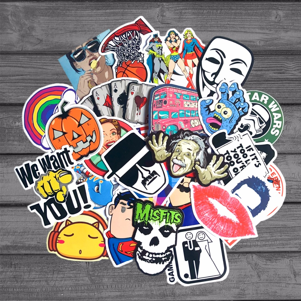 50Pcs/Lot Random Waterproof Cartoon Sticker For Kids Toy Luggage Skateboard Phone On Laptop Moto Bicycle Wall Guitar Stickers cartoon cactus wall sticker