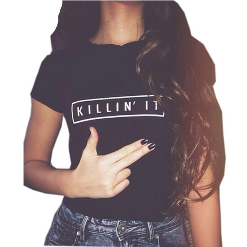 Ljfmytion Store women tops 2017 new summer fashion blusas mujer blusa social letter KILLIN' IT roupas moda femininas camisa female blouse shirts
