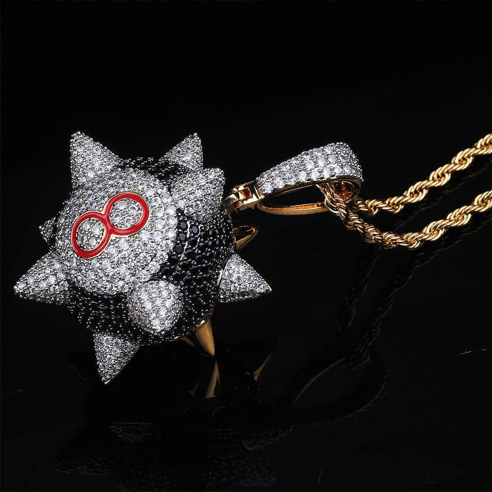 TOPGRILLZ nowy Iced out wisiorek naszyjnik z 4mm tenis łańcuch naszyjnik złoty kolor Cubic cyrkon męska kobiety Hip hop biżuteria
