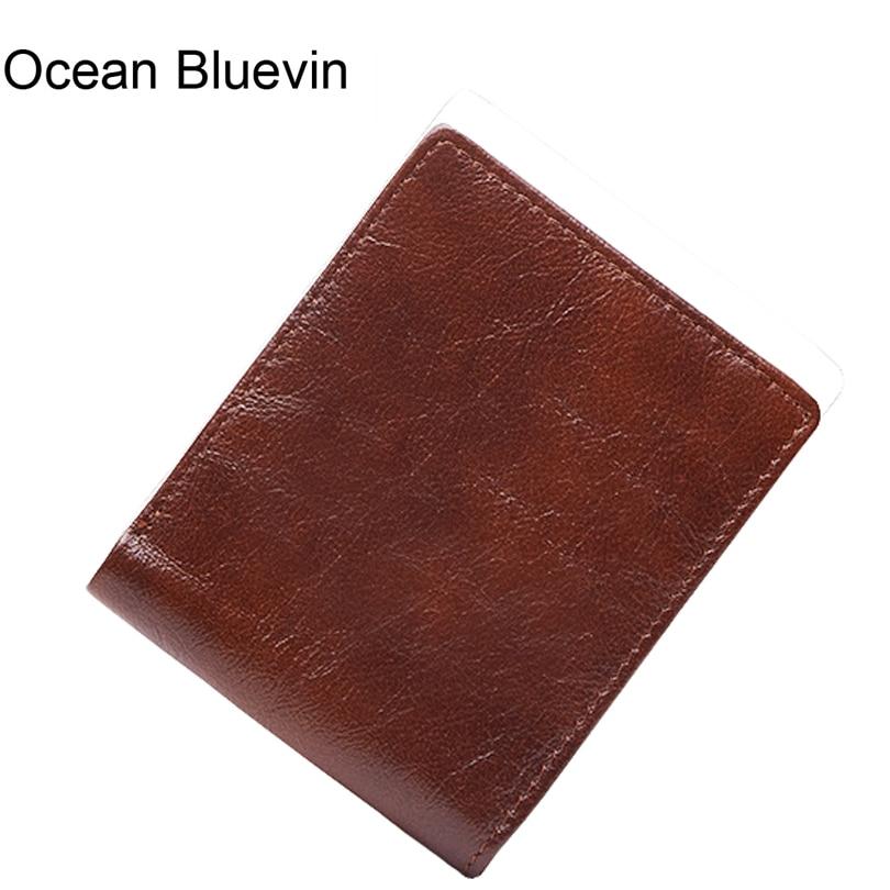 OCEAN BLUEVIN Genuine Leather Men Wallets Vintage Small Wallet Purse Driver License Holder Short Coin Purse Card Holder