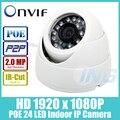 POE HD 1920x1080 P 2.0MP Крытый IP Камеры 24 СВЕТОДИОДНЫХ ИК купольная Камера Безопасности ONVIF Ночного Видения P2P IP CCTV Камеры Системы с IR-Cut