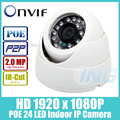 POE HD 1920x1080 P 2.0MP IP Indoor Camera 24 LED IR cúpula De Câmera De Segurança Night Vision ONVIF P2P IP Cam CCTV Sistema com IR-Cut