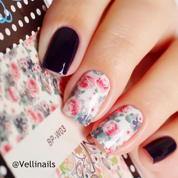 BORN PRETTY Mixed Flower Leaves Nail Art Sticker Water Decals DIY ...