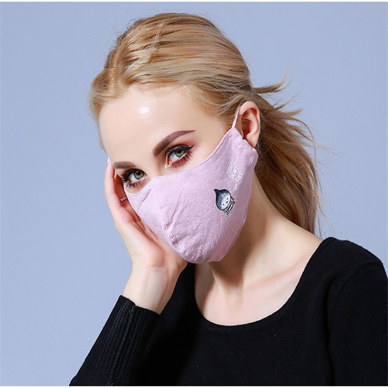 10pcs/Bags New Mask Winter Dust-proof Anti-haze Cotton Thermal Masks Lady Printing Three-dimensional Korean Breathable