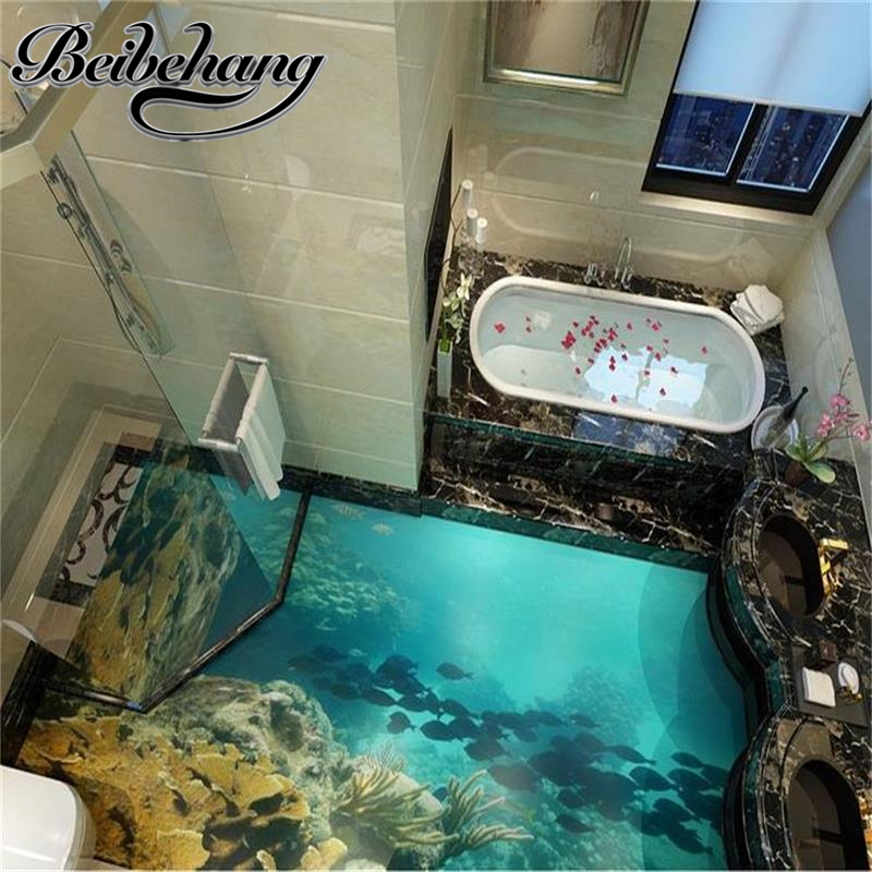 Beibehang 3d Flooring Custom Photo Wallpaper Sea World Really 3d Floor Wallpaper Bathroom Self-adhesive Pvc Waterproof Wallpaper