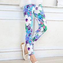 Леггинсы для маленьких девочек на лето и осень эластичные длинные штаны с цветочным принтом От 2 до 14 лет