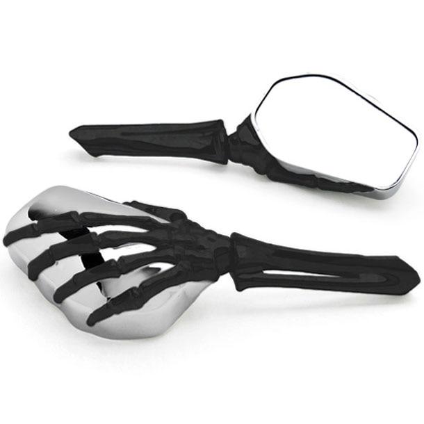 Brand new Chrome Black Custom Motorcycle Skeleton Bone Mirrors For Victory Cross Country цена