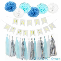 Birthday Decor Paper Flower Ball Tassels Boy Girl Happy Birthday Banner Decor Baby Shower Kids Perfect