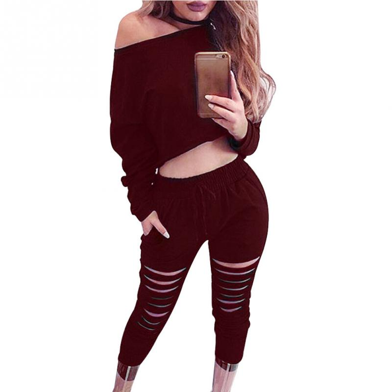 Women Sexy Two Piece Set Tracksuit Top And hole Pants Ladies Casual off shoulder blouse Suits Sweatsuits For Women Spring Autumn 1