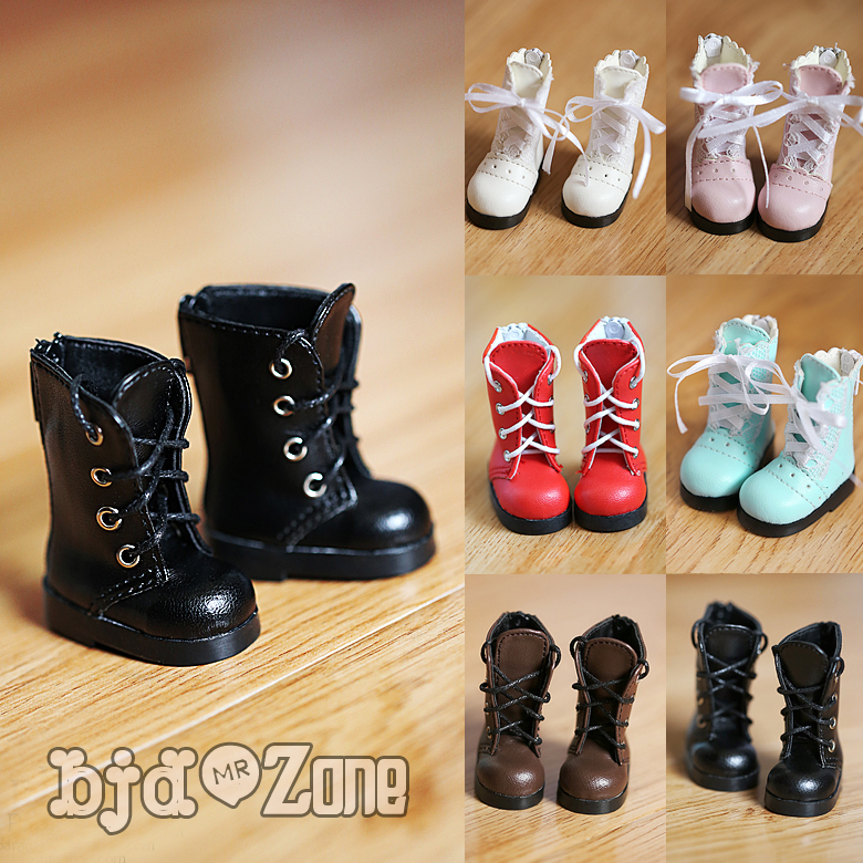 цена на New BJD doll shoes YOSD 1/6 4*2cm 4 color Pink/blue/red/black Boots British style Canister boots in straps