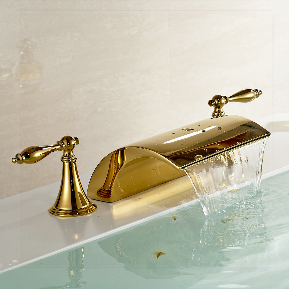 Waterfall Spout Widespread Bathtub Faucet 3 Holes Basin Mixer Tap Gold Polished Sink Bath Room