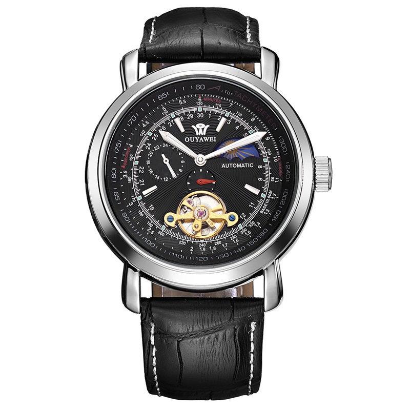 цена OUYAWEI Luxury Tourbillon Moon Phase Mechanical Watches for Men Waterproof Leather Automatic Multifunctional Watch relogios онлайн в 2017 году