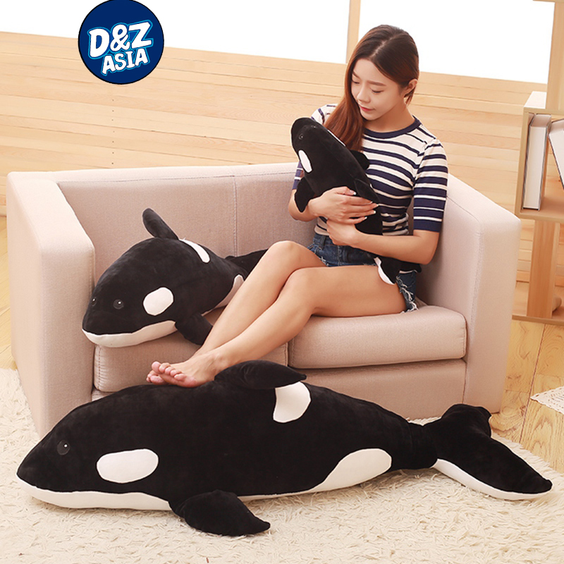 Killer whale doll pillow whale Orcinus orca black and white whale plush toy doll shark kids boys girls soft toys one piece huge plush simulation black killer whale toy new whale pillow doll gift about 120cm