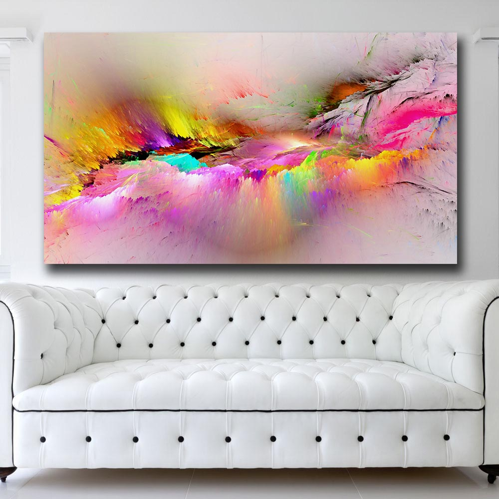 Wxkoil Wall Art Rainbow Colorful Colors Splash Iii Wall Picture For Living Room Home Decor Oil Painting On Canvas Wall Painting