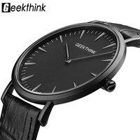 Mens Watches Top Luxury Brand GEEKTHINK Men Quartz Watch Leather Casual Wrist Watches Male Clock Fashion