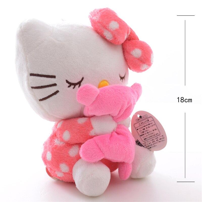 Adorable Soft Pink Dots Sleeping Hello Kitty Hold Pillow Plush Japan Ainime Kitten Cat Dolls Toys 8 New