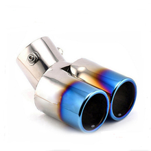 Universal Y-Pipe Dual Automobile Car Stainless Steel Round Tail Muffler Tip Exhaust Pipe for Nissan/hyundai/Toyota/Peugeot 408