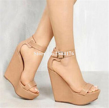 New Design Women Fashion Open Toe High Platform Wedge Sandals Ankle Strap Black Nude Leather Wedge Sandals Dress Shoes