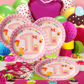 PASAYIONE 68Pcs/Lot Kawaii Baby Girl Pattern For Baby's First Birthday Party Decor Party Supplies Disposable Paper Plate Cups