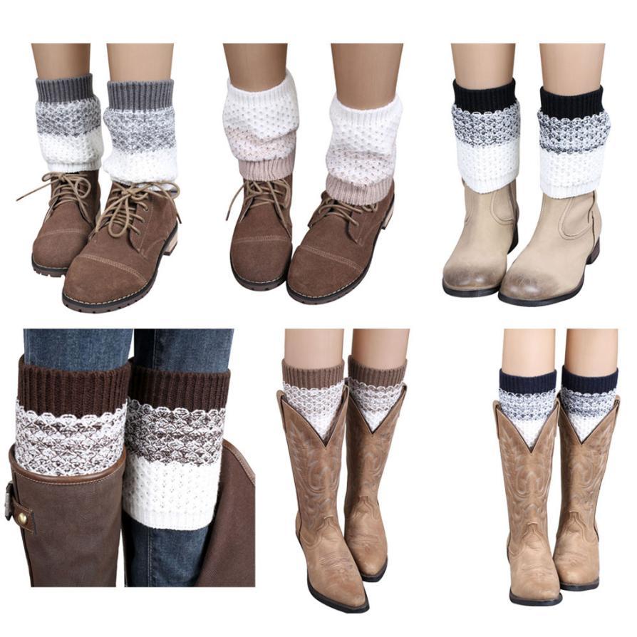 Black Friday VOT7 vestitiy 2017 Jacquard Knitted Leg Warmers Socks Boot Cover,Aug 13