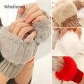 Новая Мода Симпатичные Искусственного Кролика Ручной Зима Теплые Трикотажные Перчатки Без Пальцев Варежки 10 цветов
