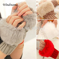 New Fashion Cute Faux Rabbit Fur Hand Winter Warmer Knitted Fingerless Gloves Mitten 10 colors