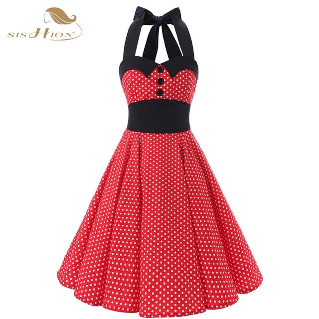 447730ddf404 SISHION Halter Design Abito Rosso Corto Cotone Vintage Plus Size 50 s 60 s  Rockabilly Swing
